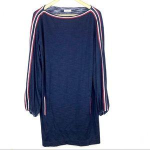 Max Studio Long Sleeve Striped Tunic Dress Blue